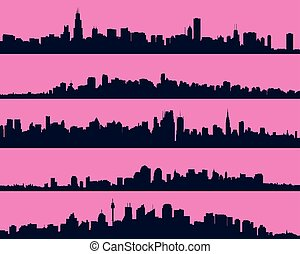 Set of five urban blue silhouettes, city, vector.