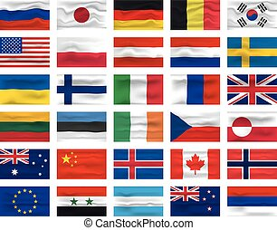 Set of Flag Icon and Logo. World National Isolated Flag Banner and Template. Realistic, 3D Vector illustration Art with Wave Effect