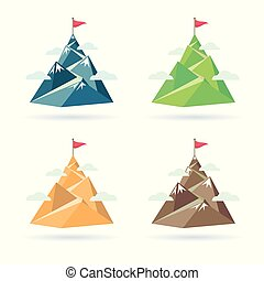 Set of flag on the mountain peak. Way to successful Business. Vector illustration