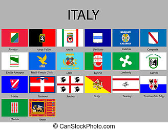 Set of flags - all Flags provinces of Italy. Vector...