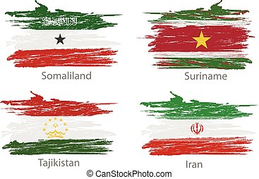 set of flags countries smears and paint stains
