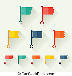 Set of flags for design in flat style.