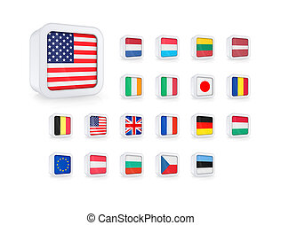 Set of flags icons. 3D rendered high resolution images. Isolated on white.