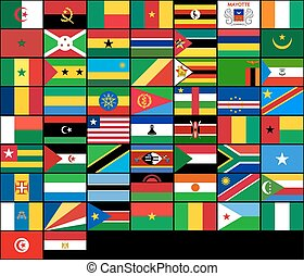 Set of flags of African countries. Vector flags of Africa