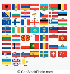 Set of flags of all countries of Europe