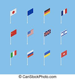 Set of flags of different countries is an isometric 3D. Vector illustration .