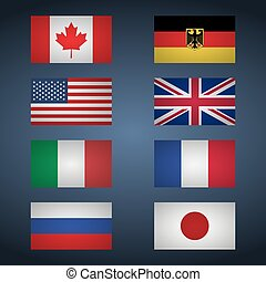 Set of flags of Great Eight. Canada, USA, Germany, Great Britain, Italy, France, Japan, Russia