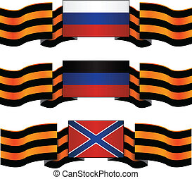 set of flags of russia, donetsk and novorossiya with georgievsky ribbon. vector illustration