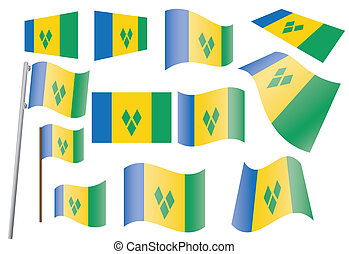 Saint Vincent and the Grenadines - set of flags of Saint...
