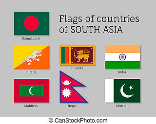 Set of flags of south Asia, Bangladesh, Butane, Sri Lanka,...
