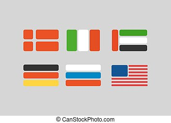 Set of flags, stylized flags from geometry: Russia, Germany. USA and Italy. Vector illustration
