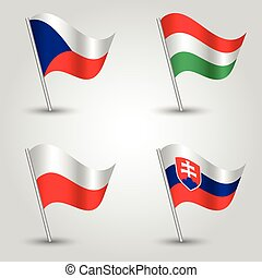 set of flags V4 visegrad group - czech republic, hungary, poland and slovakia - vector 3d waving flag with inclined metal stick