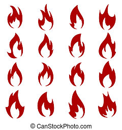 Set of flame - Flames of different shapes on a white ...