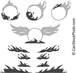Set of flame forms for create logotype - Set of vintage...