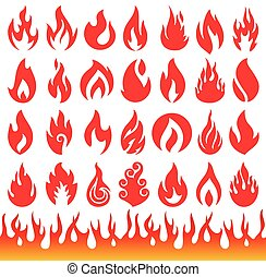 Set of Flame icons. Fire symbols.