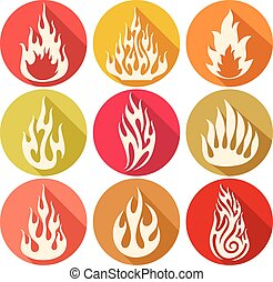set of flames icons