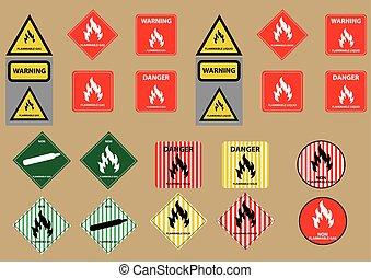 set of flammable liquid gas solid fuel sign vector...