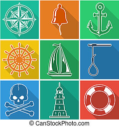 Set of flan nautical icons