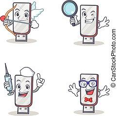 Set of flashdisk character with cupid detective nurse geek
