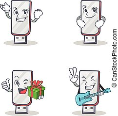 Set of flashdisk character with succesfull smirking gift guitar