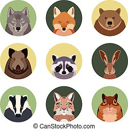 Set of flat animal icons