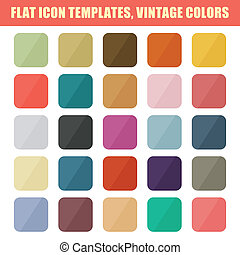 Set Of Flat App Icon Templates, Backgrounds. Vintage Palette. Vector