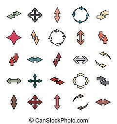 Set of flat arrows with black stroke, vector illustration.