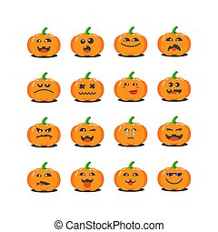 set of flat art cartoon pumpkins icons for Halloween with different emotions