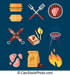 Set of flat barbeque icons for web. Camping vector illustration isolated on blue background.