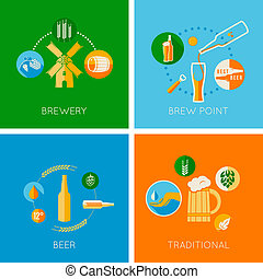 set of flat beer design icons