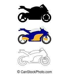 Set of Flat Bike icon. Cartoon, Outline, Silhouette Vector illustration