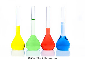 Set of flat-bottomed flasks with color liquid