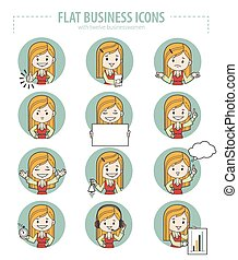 Set of flat business icons. - Set of flat business icons...