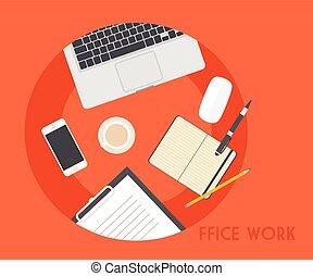 Set of Flat Business Office Vector Illustration
