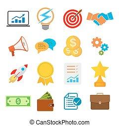 Set of flat business start up icons. Vector illustration