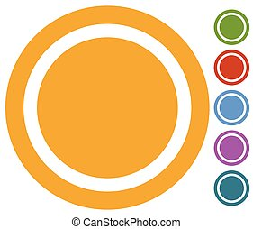Set of flat button, badge icon in 6 colors
