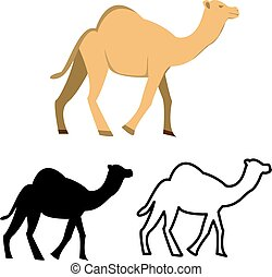 Set of flat camel icon