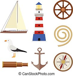 Set of flat cartoon style nautical objects - Flat cartoon...