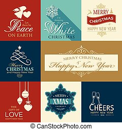 Set of flat Christmas and Happy New Year icons