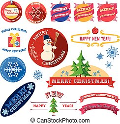 Set of flat Christmas vintage labels