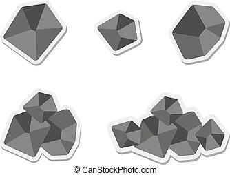 coal - Set of flat coal icon