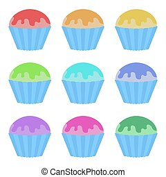 Set of flat colored isolated cakes drizzled with glaze. The striped baskets. Delicious color on a white background