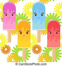 Set of flat colored isolated cartoon ice cream. On white background with bright abstract flowers.