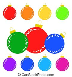 Set of flat colored isolated Christmas tree balls.