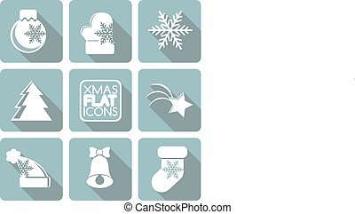 Set of flat colored simple Christmas elements.