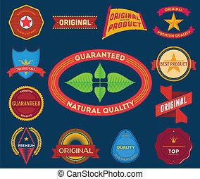 Set of flat colored vintage labels