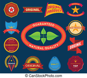 Set of flat colored vintage labels