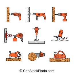 Set of flat colorful repair tool icons.