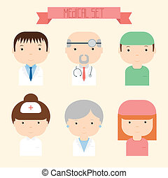 Set of flat colorful vector doctor icons. Medical people....