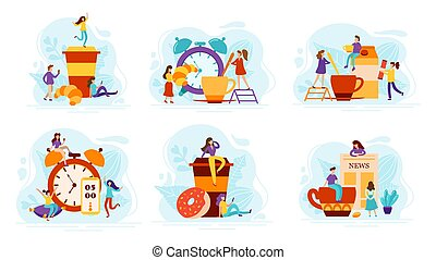 Set of Flat compositions with daily morning life concepts. Fresh coffee and sweets, tiny people and alarm clock. Vector illustration